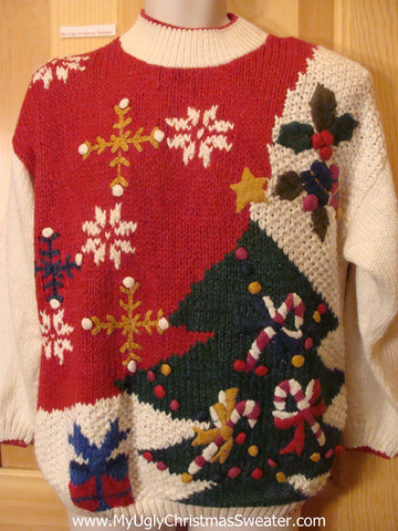 Funny Ugly Christmas Sweater Bulky Tree and Candycanes