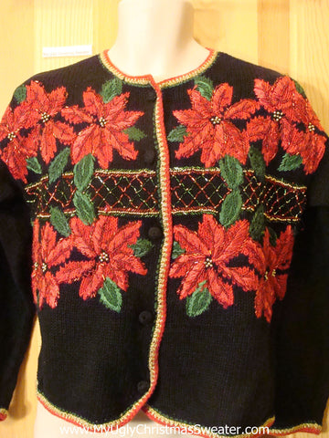 Funny Ugly Christmas Sweater with Poinsettias