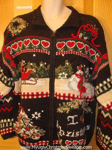 Funny Ugly Christmas Sweater 2sided Horrible Mess