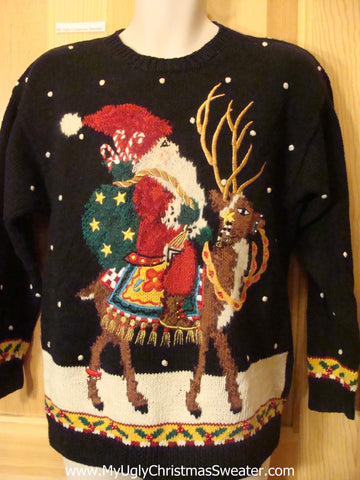 Amazing 80s Pullover Santa and Reindeer Ugly Christmas Sweater