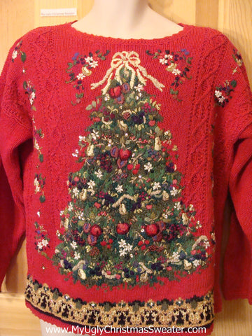Funny Ugly Christmas Sweater 80s Huge Horrible Tree