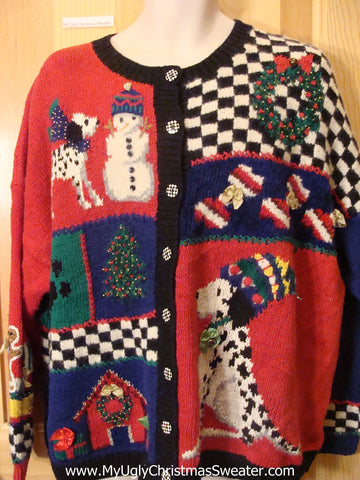 Funny Ugly Christmas Sweater Dalmation Dog Checkerboard