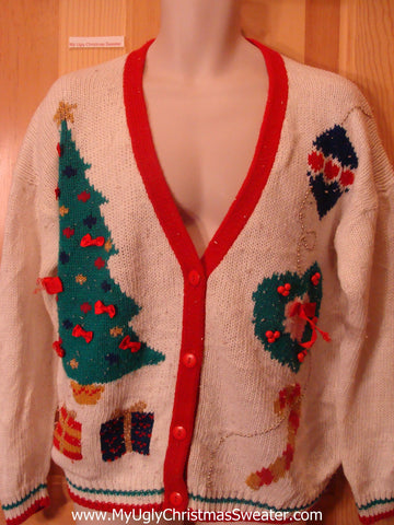 Funny Ugly Christmas Sweater 80s Cardigan with Tree
