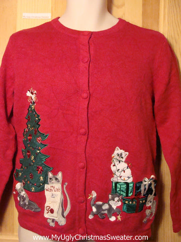 "Tacky Ugly Christmas Sweater with Cats ""My Wish List"" (f252)"