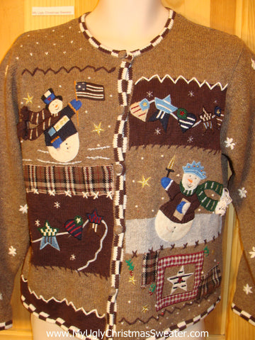 Funny Cheap Brown Ugly Christmas Sweater with Snowmen