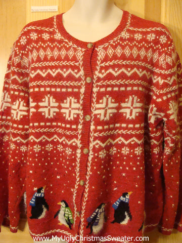 Funny Ugly Christmas Sweater Nordic with Penguins