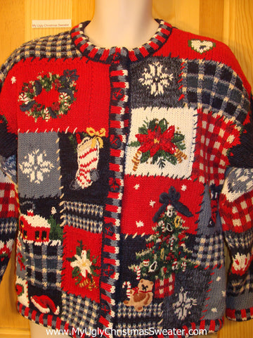 Funny Ugly Christmas Sweater 80s 2sided Geometric Mess