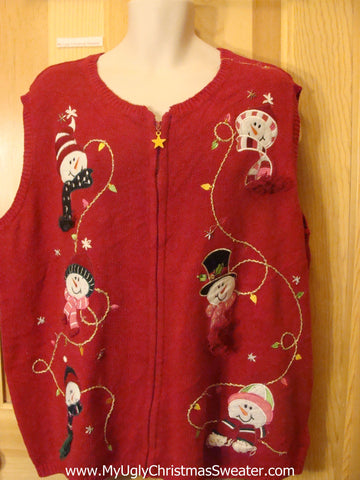 Funny Red Ugly Christmas Sweater Vest with Snowmen