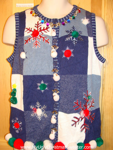 Tacky Ugly Christmas Sweater Vest with Crafty Bling (f253)