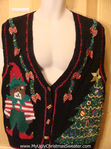 Funny Ugly Christmas Sweater Elf Bear and Tree Vest