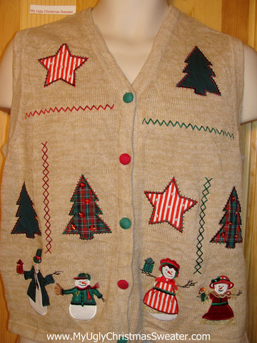 Tacky Ugly Christmas Sweater Vest with Snowmen and Trees and Striped Stars   (f254)