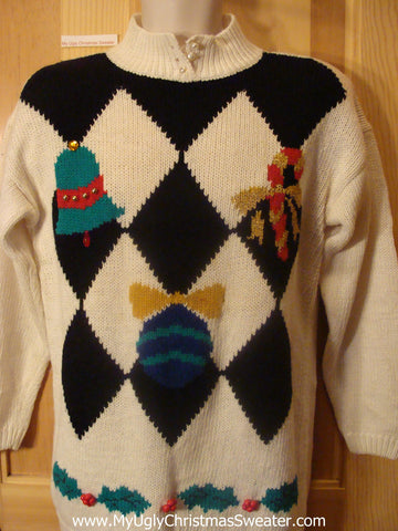 Ugly Christmas Sweater 80s Horrible Diamond Grid