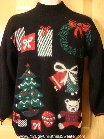 Ugly Christmas Sweater 80s 2sided Horrible Pullover