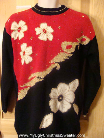 Ugly 80s Christmas Sweater with White Poinsettias and Gold Bling