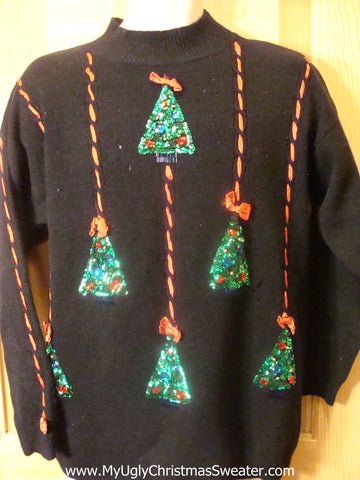 Ugly Christmas Sweater 80s with Bling Trees