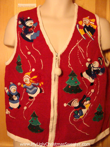 Tacky Ugly Christmas Sweater Vest with Frolicking Festive Snowmen Skating and Skiing (f255)