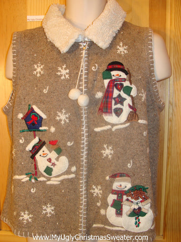 Ugly Christmas Sweater Vest Happy Snowmen Dangling Zip Pull