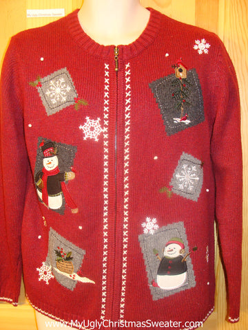 Ugly Red Christmas Sweater Patchwork Snowmen