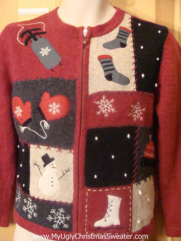 Ugly Christmas Sweater Winter Mittens and Sled 2sided Fun