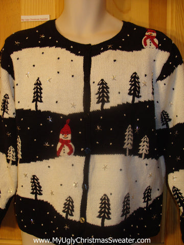 Ugly Christmas Sweater 2sided Snowman and Forest