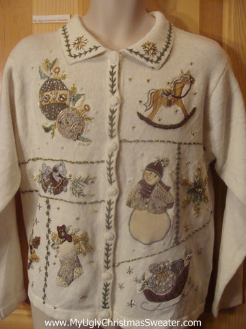 Crafty Embroidered Ugly Christmas Sweater with Rocking Horse