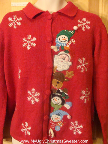Ugly Christmas Sweater with Peaking Snowmen, Reindeer, and Santa