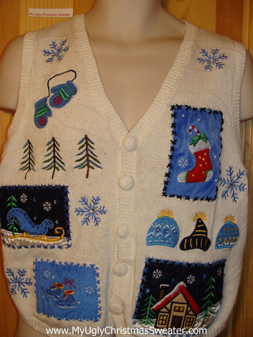 Tacky Ugly Christmas Sweater Vest with Crafty Festive Decorations (f256)