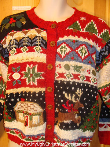 Ugly Christmas Sweater with Winter House and Leaping Reindeer