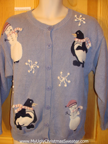 Cute Penguins and Snowmen Ugly Christmas Sweater