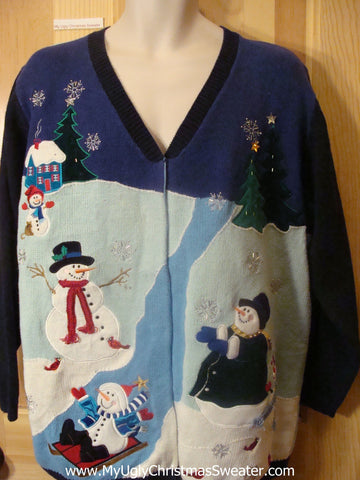 Ugly Christmas Sweater Big Size  2sided Snowmen