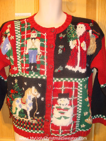 Ugly Christmas Sweater 80s Classic Horse, Nutcracker, Santa