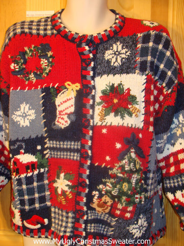 Ugly Christmas Sweater 80s Geometric Cheesy Mess