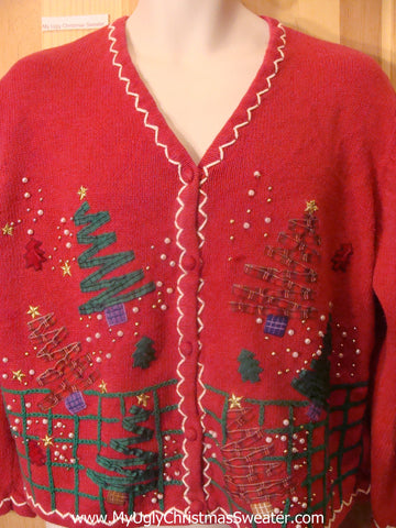 Ugly Christmas Sweater 2sided Crafty Trees