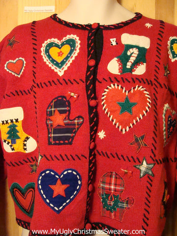 Tacky Ugly Christmas Sweater with Crafty Embroidered Decorations (f257)