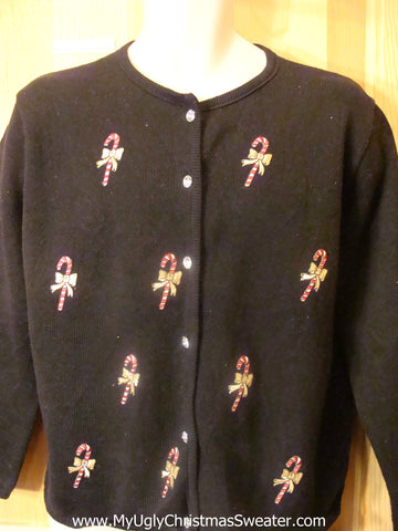 Ugly Christmas Sweater with Cute Candy Canes with Bows