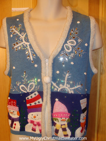 Cute with Bling Snowflakes Ugly Christmas Sweater Vest