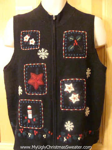 Cheap Ugly Christmas Sweater Vest with Ivy and Poinsettias