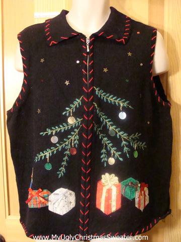 Ugly Christmas Sweater Vest Crafty Gifts with Bows