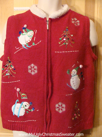 Ugly Christmas Sweater Vest Skiing Snowmen Bling Trees