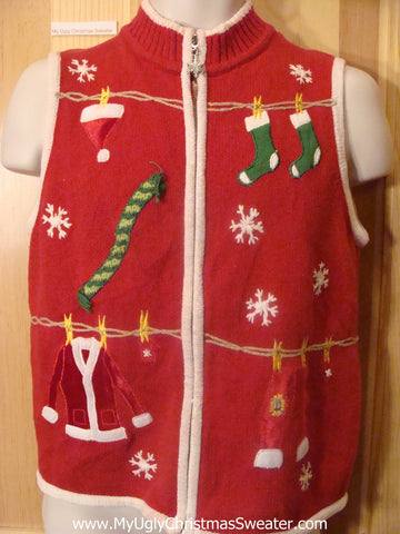 Ugly Christmas Sweater Vest Santa's Clothesline