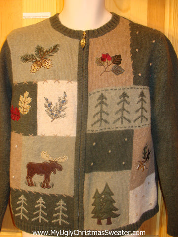 Ugly Christmas Sweater with Moose Woodland Theme