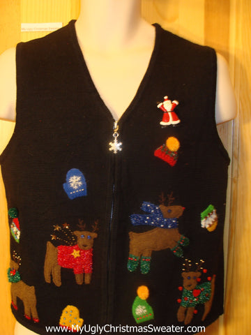 Ugly Christmas Sweater Vest Happy Reindeer Dancing