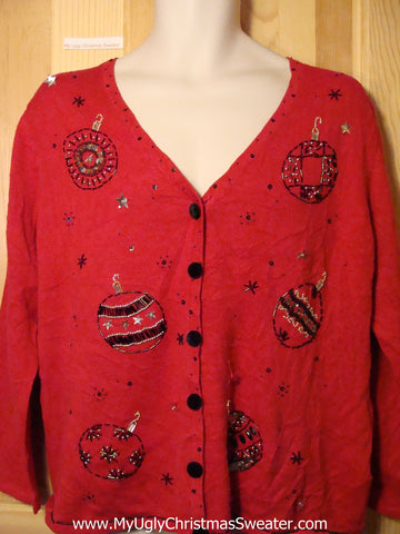 Tacky Ugly Christmas Sweater with Thin Knit and Bling (f258)