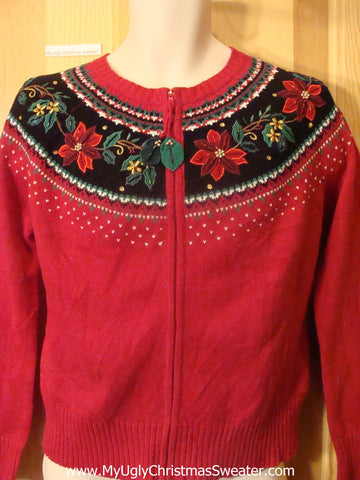 Classic Poinsettia and Ivy Ugly Christmas Sweater