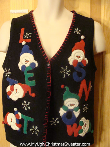 Ugly Christmas Sweater Vest Snowmen LET IT SNOW