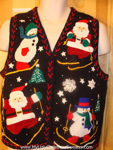 Ski Theme Ugly Christmas Sweater Vest Santa and Snowmen