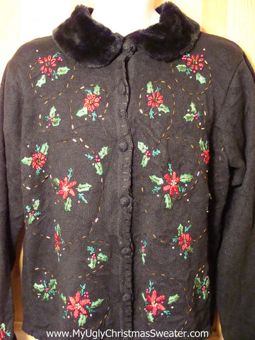 Tacky Ugly Christmas Sweater with Bead Bling Poinsettias and Faux Fur Collar (f259)