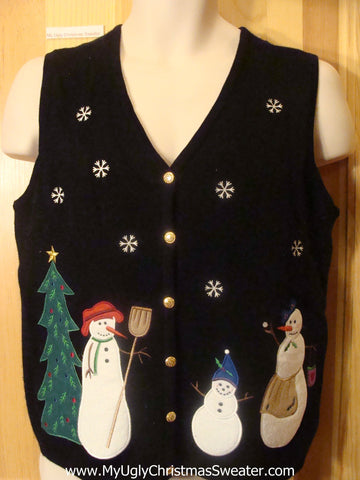 Snowman Family Funny Christmas Sweater Vest
