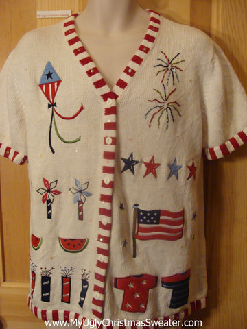 Patriotic Funny Christmas Sweater with Short Sleeves
