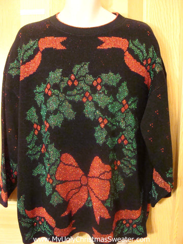 Funny 80s Christmas Sweater with Massive Wreath